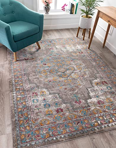 Well Woven Algie Multi-Color Beige Vintage Bohemian Medallion Design Area Rug 5×7 5 3 x 7 3