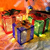 Twinkle Star Set of 3 Christmas Lighted Pop Up Gift Boxes Decorations, Tinsel Present Box, Pre-lit 60 LED Light Up Tree…