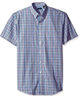 Arrow Men's Big and Tall Short Sleeve Hamilton Poplin Plaid Shirt