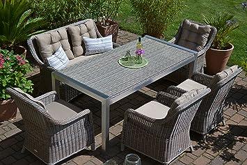 Bomey Gartenmobel Set Tisch Bank Und 4 Sessel Rattan Polyrattan