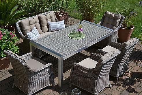 Gartenmöbel set mit bank  Gartenmöbel Set Tisch, Bank und 4 Sessel Rattan Polyrattan ...