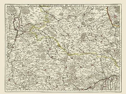 Amazon Com Old Germany Map Swabia Covens 1742 23 X 30 98