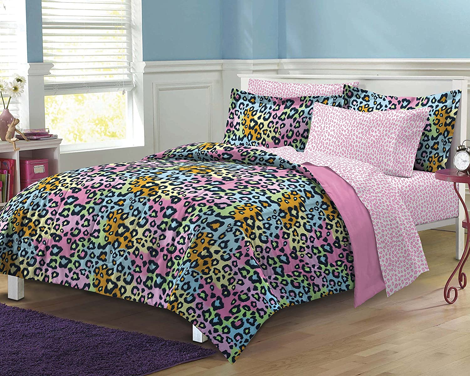 My Room Neon Leopard Ultra Soft Microfiber Girls Comforter Set, Multi-Colored, Full