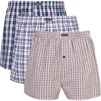 Vanever 3PK Men's Woven Boxers, 100% Cotton Boxer Shorts for Men, Boxershorts with Button Fly, Underwear