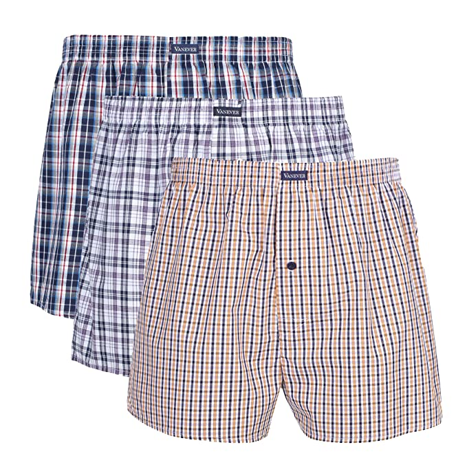 beste Wahl billiger Verkauf starke verpackung Vanever 3PK Men's Woven Boxers, 100% Cotton Boxer Shorts for Men,  Boxershorts with Button Fly, Underwear