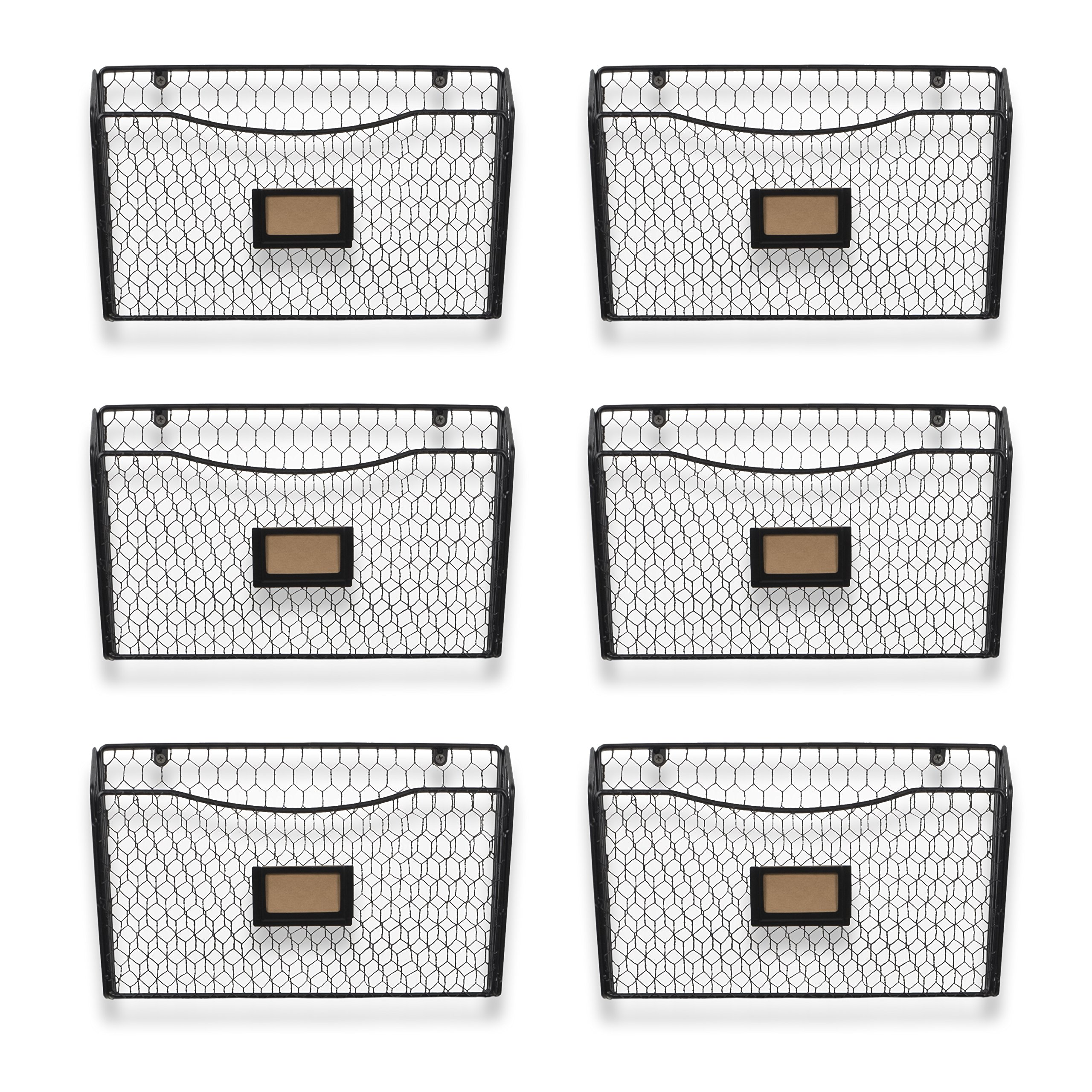 Wall35 Felic Hanging File Holder - Wall Mounted Metal Chicken Wire Magazine Rack - Office Folder Organizer with Name Tag Slot in Black (6) by Wall35 (Image #3)