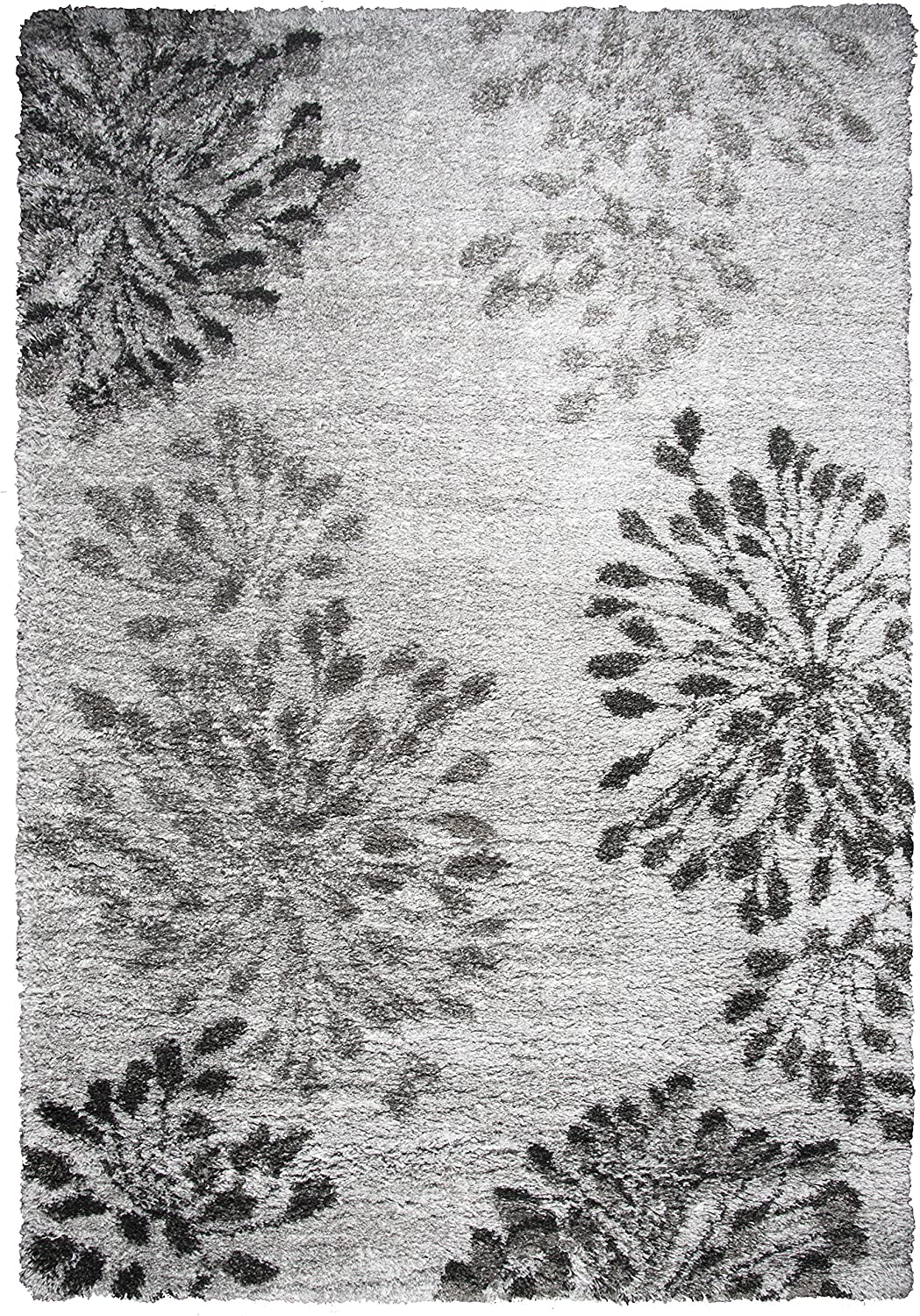 "Rizzy Home Adana Collection Polypropylene Gray/Charcoal/Dk. Gray Floral Area Rug 7'10"" x 10'6"""