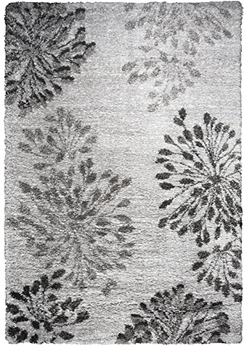 Rizzy Home Adana Collection Polypropylene Gray/Charcoal/Dk. Gray Floral Area Rug 7'10″ x 10'6″
