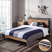 Zinus Ironline Double Bed Frame with USB Charging Port and Headboard Shelf - Metal and Pine Wood Industrial Platform Bed