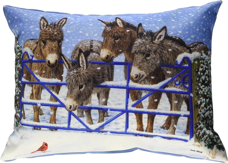 Caroline s Treasures ASA2209PW1216 Donkeys Cardinal Fabric Decorative Pillow, Large, Multicolor
