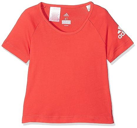 adidas LG Cotton tee Camisa de Golf, Unisex Niños, Blanco (Rojo),