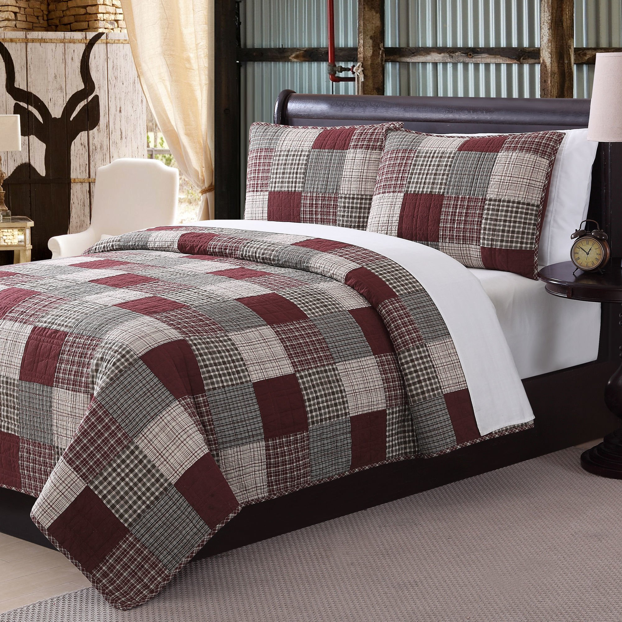 OVS 3 Piece Rustic Red Grey Tan Queen Quilt Set, Plaid Tartan Patchwork Themed Bedding Cottage Cabin Country Vintage Western Lodge Square Block Burgundy Tan Beautiful Shabby Chic, Cotton, Polyester