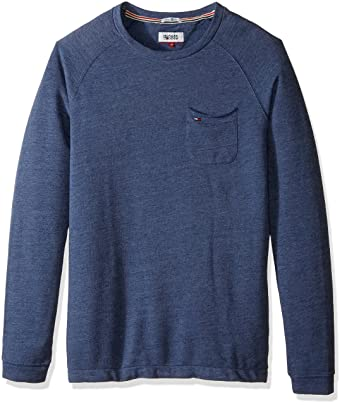 eae4044a Tommy Jeans Men's Pullover Heathered Pocket Sweatshirt, Mid Blue ...