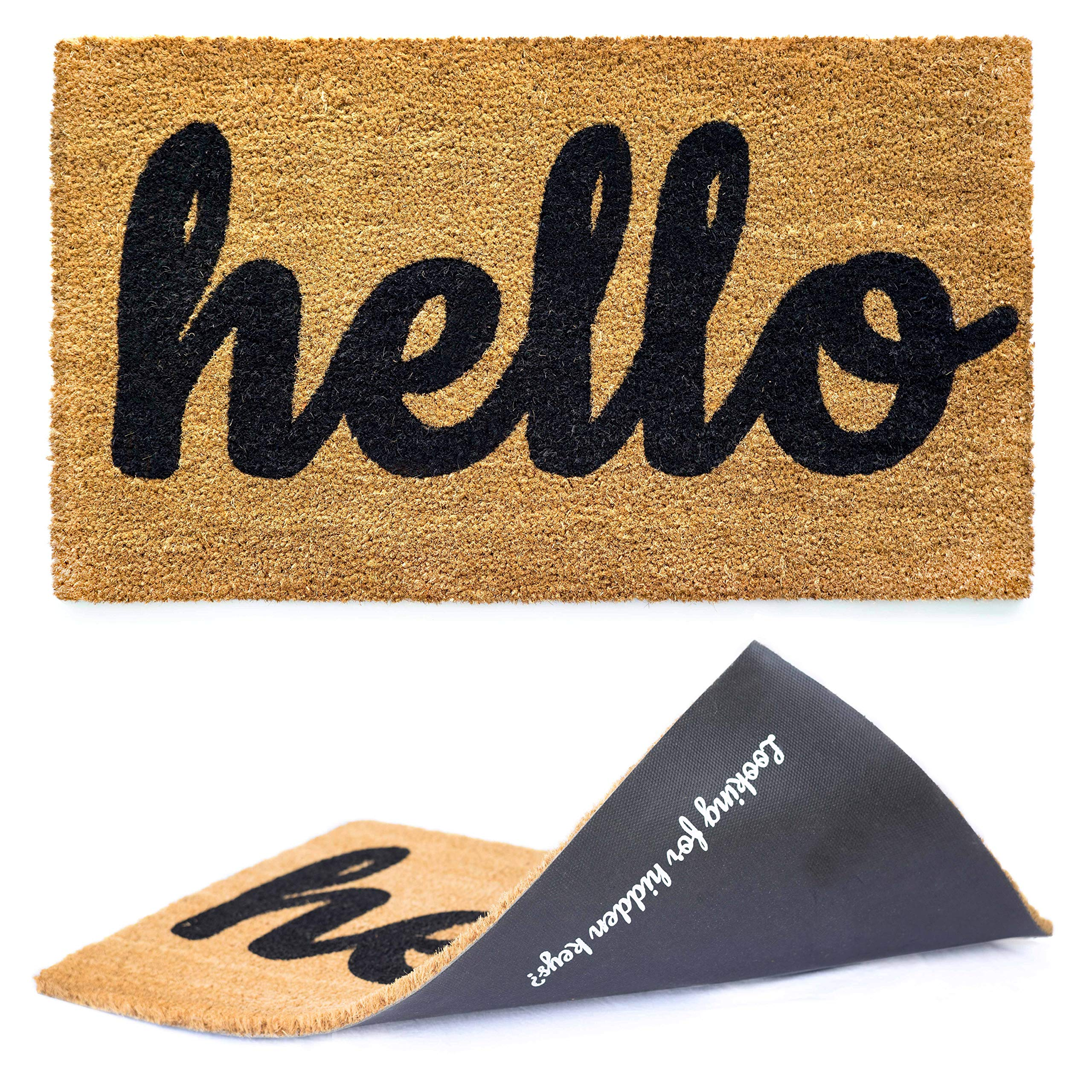 "Welcome mat | Hello Door mat for Front Door | Entryway Outdoor Floor mat | Cursive Hello mat with Fun ""Looking for Hidden Keys?"" Print on The Back 
