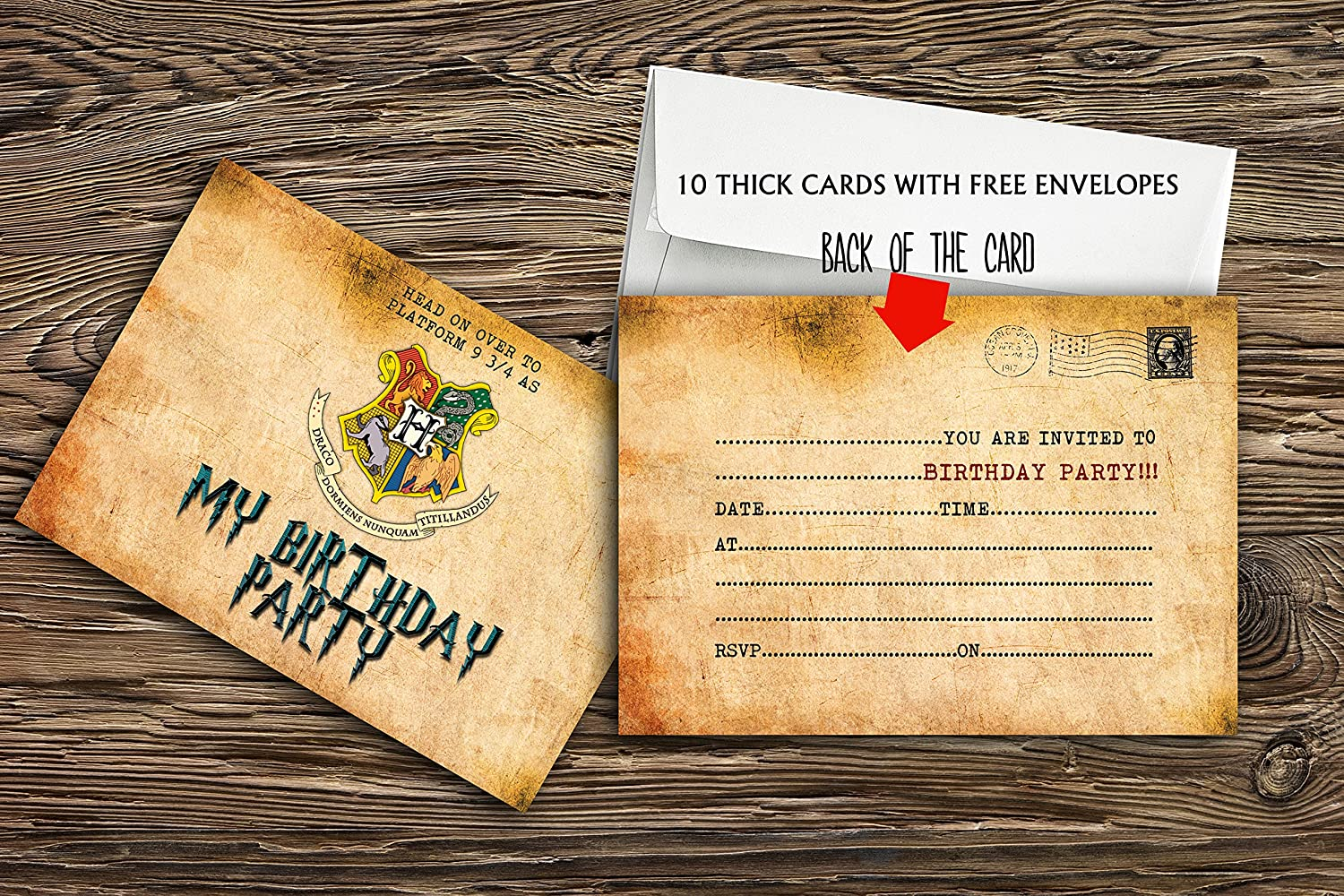 10 x Harry Potter birthday Party Invitations With 10 FREE Envelopes design buddies