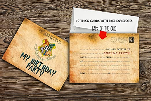 Invitaciones para fiesta de cumpleaños (10 unidades, incluye sobres, papel grueso de 300 gsm), diseño de Harry Potter, 20