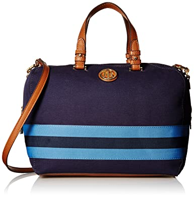 fb0226a7 Amazon.com: Tommy Hilfiger Satchel for Women Clara, Navy: Clothing