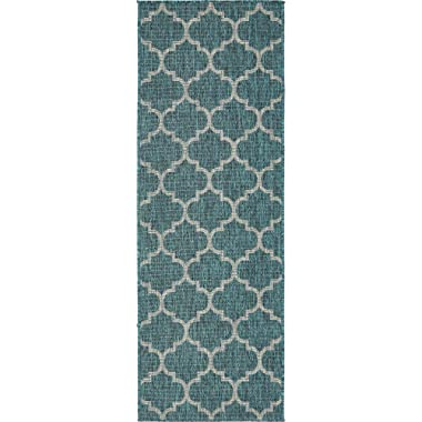 Unique Loom Outdoor Collection Casual Moroccan Lattice Geometric Teal Runner Rug (2' x 6')