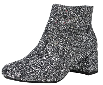 Women's Sparkling Glitter Mid Heel Ankle Bootie Dress Boot