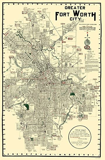 Amazon.com: Old City Map - Fort Worth Texas - Rogers 1920 - 23 x ...
