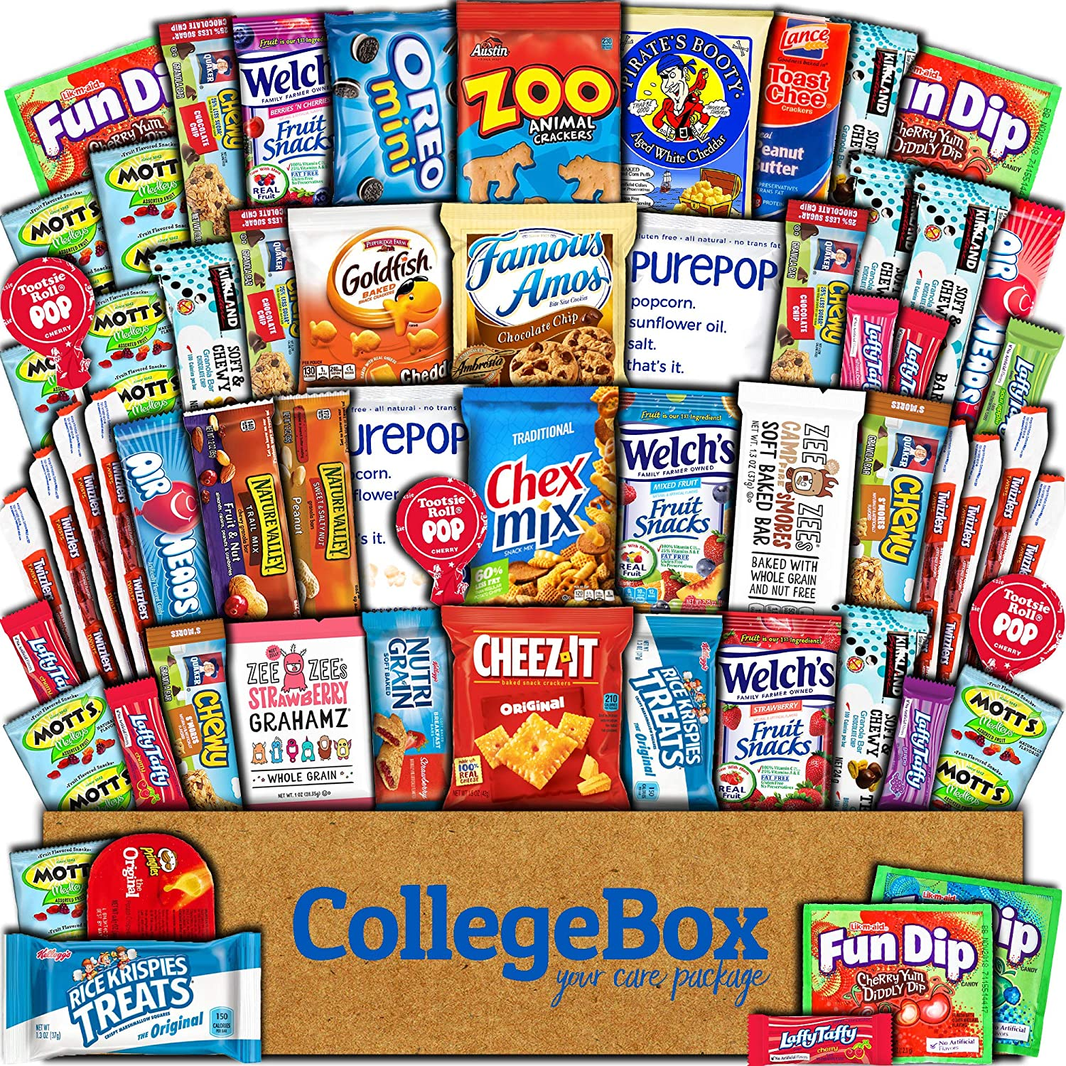 CollegeBox Care Package (60 Count) Snacks Food Cookies Chocolate Bar Chips Candy Ultimate Variety Gift Box Pack Assortment Basket Bundle Mix Bulk Sampler Treat College Students Exam Office Easter