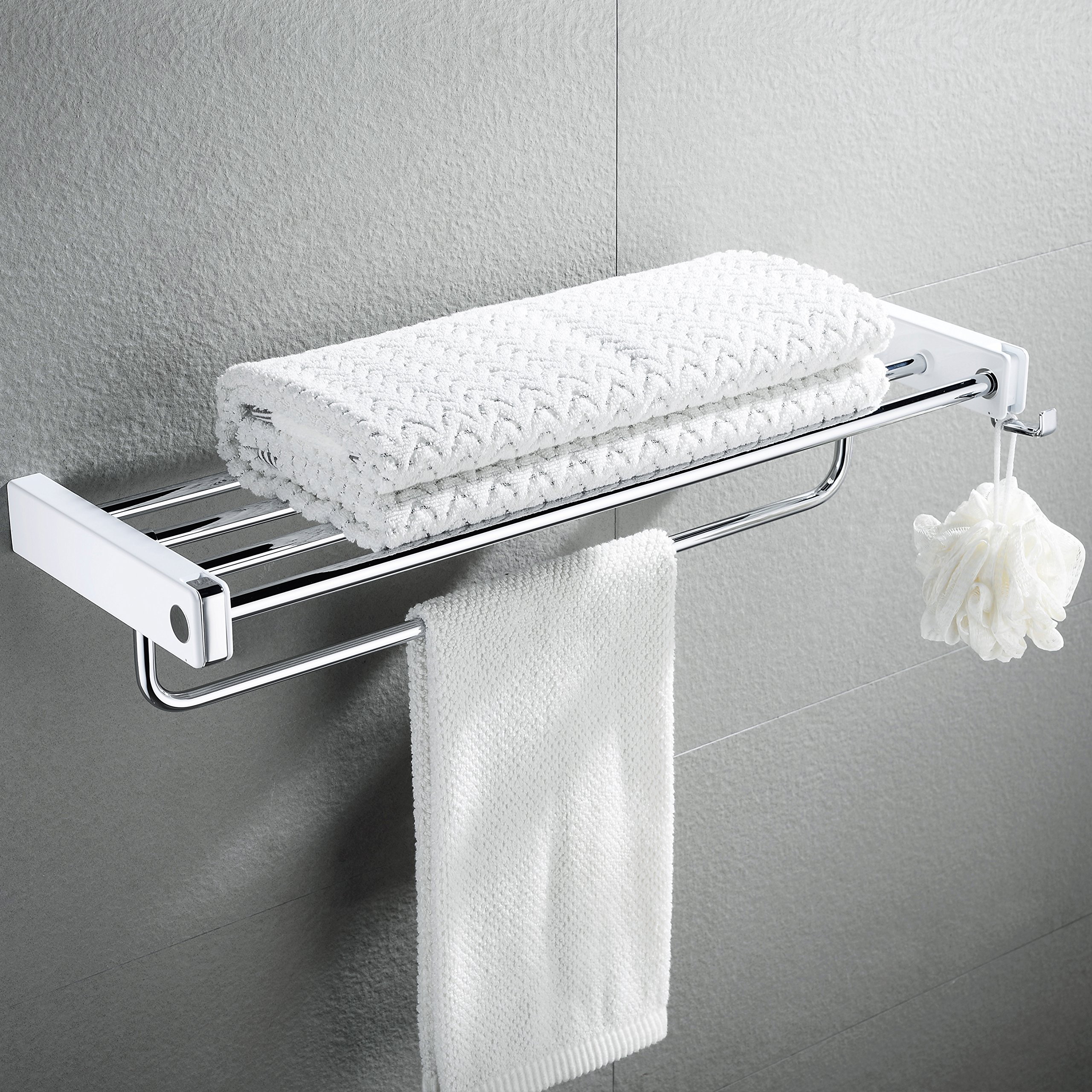 Towel Rack, Bathroom Double Towel Shelf Stainless Steel Plated Wall Mounted Foldable Bath Towel Rack with Hooks-SR SUN RISE