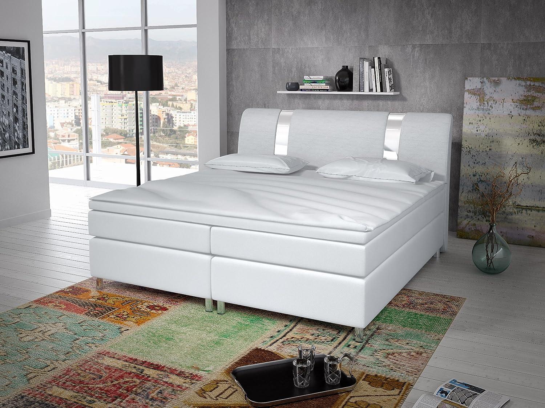 Cama con somier de lujo de 180 x 200 con listones cromados, cama doble tapizada, cama americana modelo Berlin tipo 1 (180 x 200)