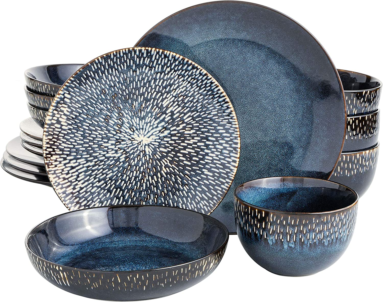 Gibson Elite Matisse 16 Piece Double Bowl Dinnerware Set, Cobalt Blue