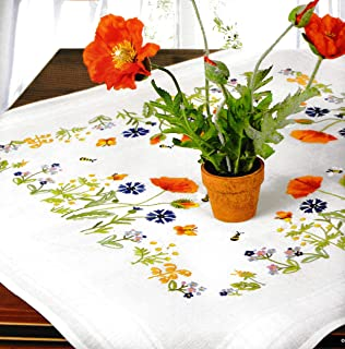 Stitch Garden Stamped Cross Stitch Tablecloth Kit Roses N9159