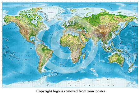 HUGE LAMINATED 91.5 x 61cm ENCAPSULATED World Political Map With Flags Educational POSTER measures 36 x 24 inches