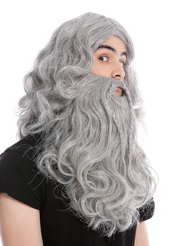 WIG ME UP ® - 90760-A+B-ZA68E Perruque et Moustache tressée Homme Carnaval Viking Norman Barbare Nain Gris