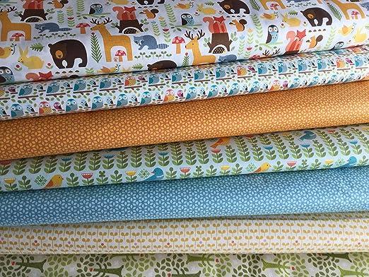 Algodón orgánico tela diseño 6 de retales paquete por Windham - WINFB008 arbolado de flores vástago osos