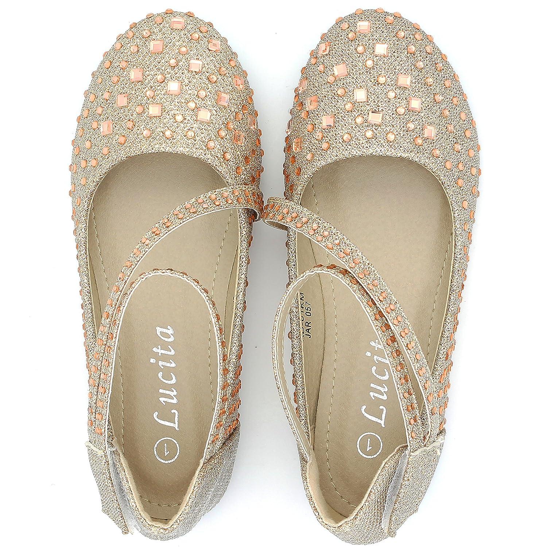Girls Kids Glitter Flats Ballet Shoes Ballerina Dress Sparkle Toddler Strap Rhinestone KD-01KM