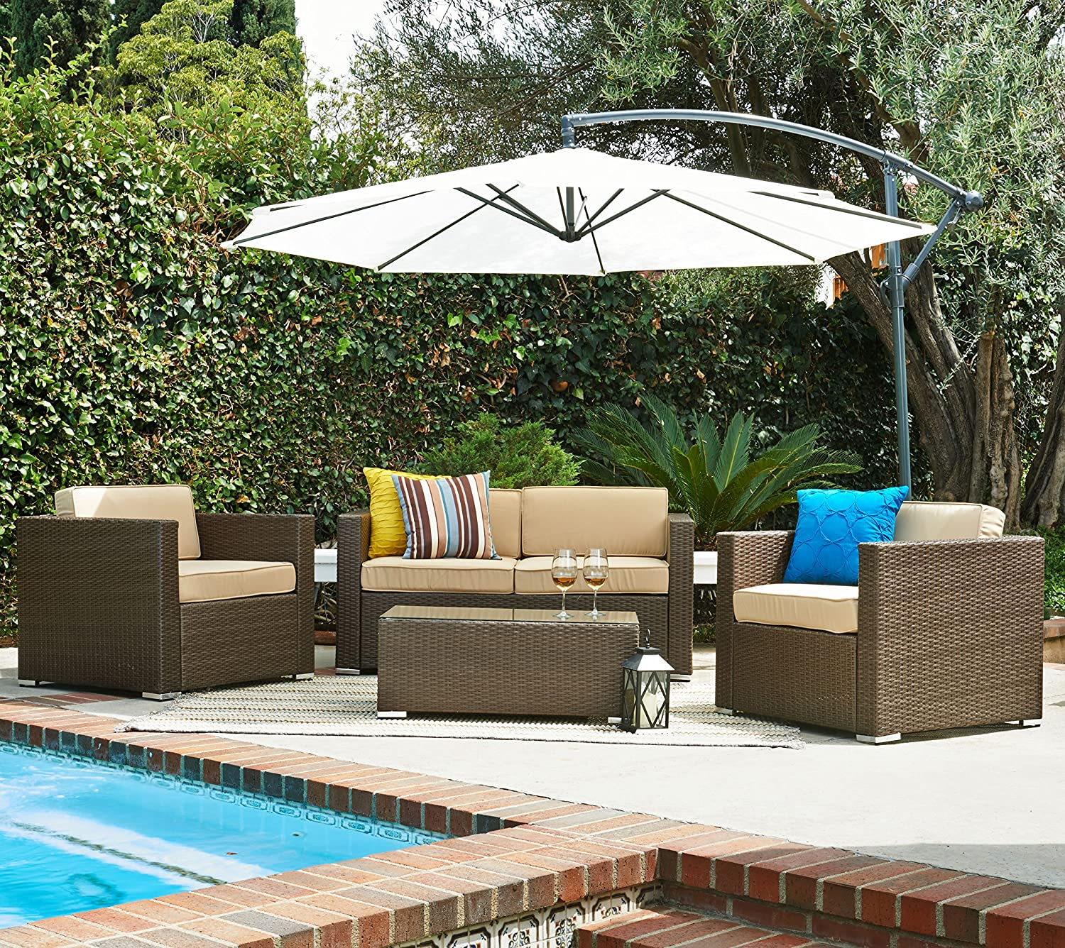 5 Pcs Patio Wicker Sofa Set with Cantilever Umbrella Dark Brown