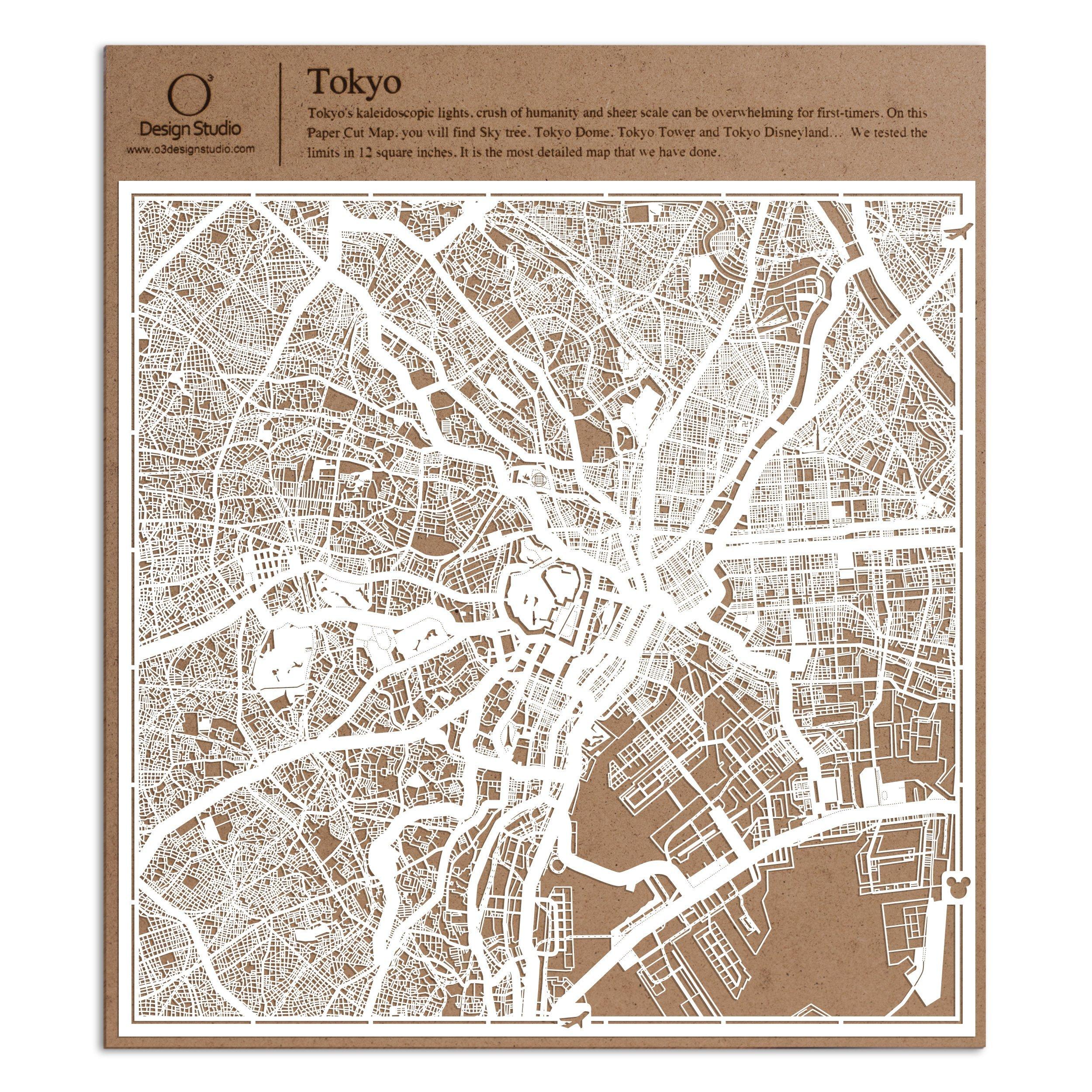 Tokyo Paper Cut Map by O3 Design Studio White 12x12 inches Paper Art
