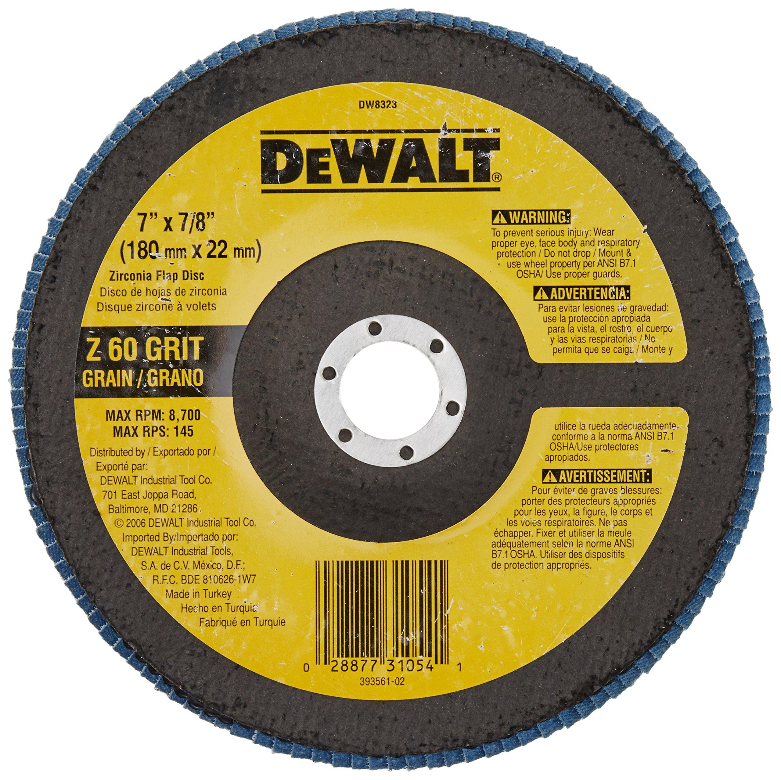 DEWALT DW8323 7-Inch by 7/8-Inch 60 Grit Zirconia