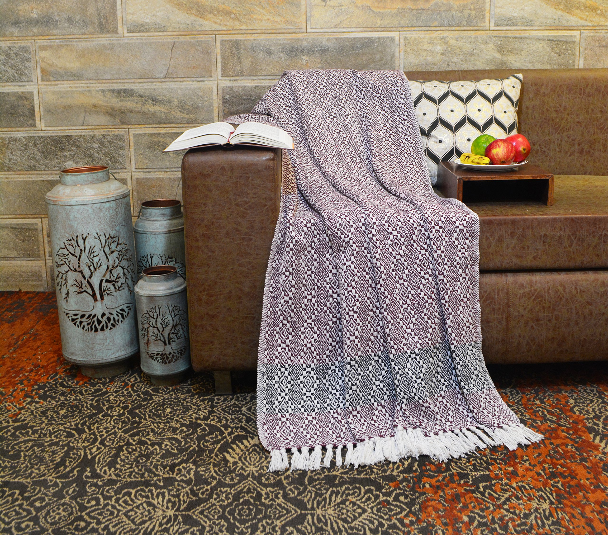 R home Luxury Jacquard Knitted Cotton Throw Blanket With Fringe For Sofa, Gift, Chair, Bed, Beach, Outdoor, Picnic and Everyday Use, Multi color, 50 x 70 Inch Throws