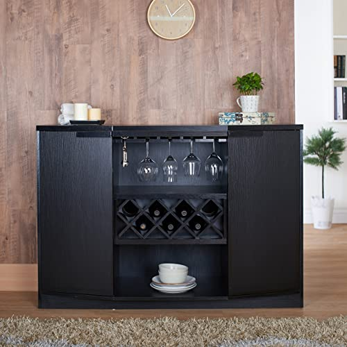 ioHOMES Annadel Contemporary Wine Buffet, Wood Sideboard with Glass Rack, Two Shelved Cabinets and Open Bottom Shelf, Black