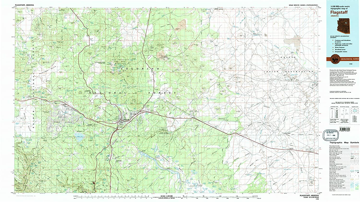 Map Of Flagstaff Arizona.Amazon Com Yellowmaps Flagstaff Az Topo Map 1 100000 Scale 30 X