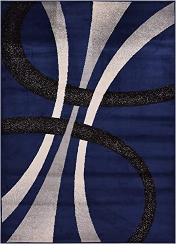 Comfy Collection Stripes Geometric Modern Area Rug Contemporary Rug 4 Color Options Navy Blue, 4 11 x 6 11