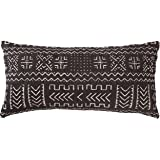 "Rivet Mudcloth-Inspired Pillow, 12"" x 24"", Onyx"