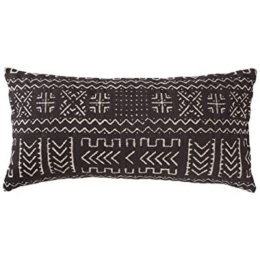 Rivet Mudcloth-Inspired Pillow, 12  x 24 , Onyx