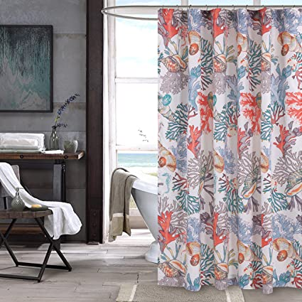 Amazon Barefoot Bungalow Atlantis Bath Shower Curtain Coral