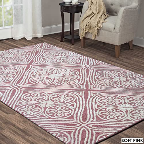 Rizzy Home Eden Harbor Collection Wool Viscose Area Rug, 5 x 8 , Pink Gray Rust Blue Trellis
