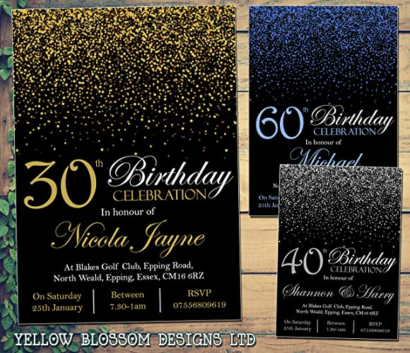 10 Personalised 18th 21st 30th 40th 50th Birthday Party Invitations Male Female