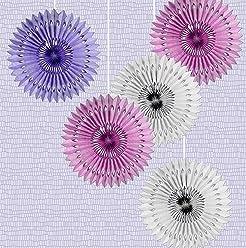 EinsSein 5er Mix Dekofächer Fliederbaum Papierfächer Papierblume Pom Poms Papierrosette Dekoration