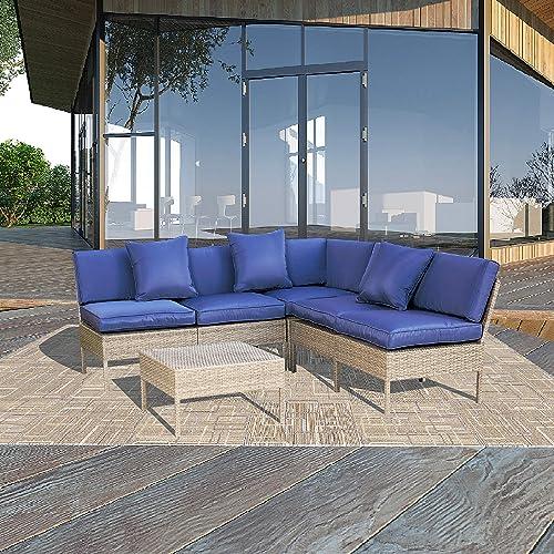 Top Space Patio Furniture Set Garden Conversation Sets Outdoor Rattan Sofa