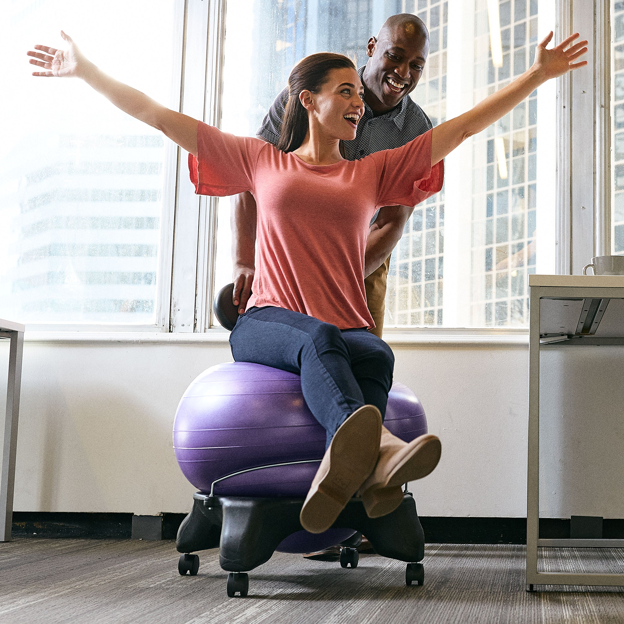 Gaiam Classic Balance Ball Chair – Exercise Stability Yoga Ball Premium Ergonomic Chair for Home and Office Desk with Air Pump, Exercise Guide and Satisfaction Guarantee, Green by Gaiam (Image #7)