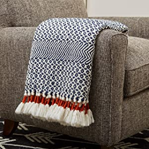 "Rivet Modern Hand-Woven Stripe Fringe Throw Blanket, Soft and Stylish, 50"" x 60"", Navy Blue and Orange"