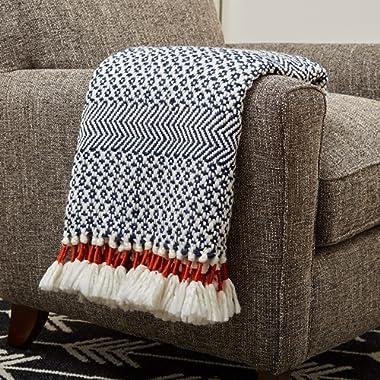 Rivet Modern Hand-Woven Stripe Fringe Throw Blanket, Soft and Stylish, 50  x 60 , Navy